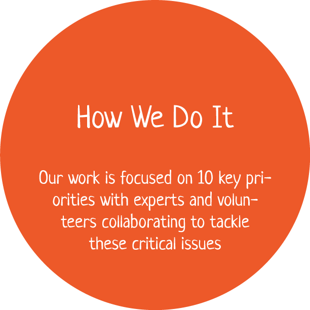 Our work is focused on 10 key priorities with experts and volunteers collaborating to tackle these critical issues