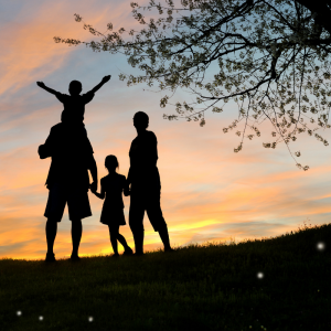 Silhouette of two adults and two children at sunset