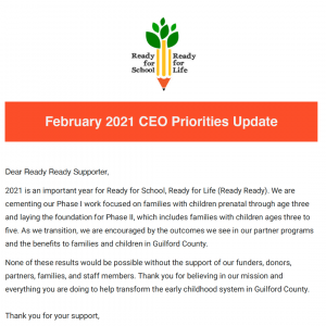 Click to open the February 2021 CEO Priorities update email