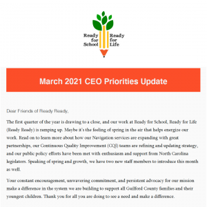 Click to open the March 2021 CEO Priorities update email