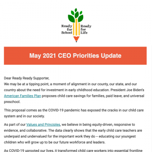Click to open the May 2021 CEO Priorities update email